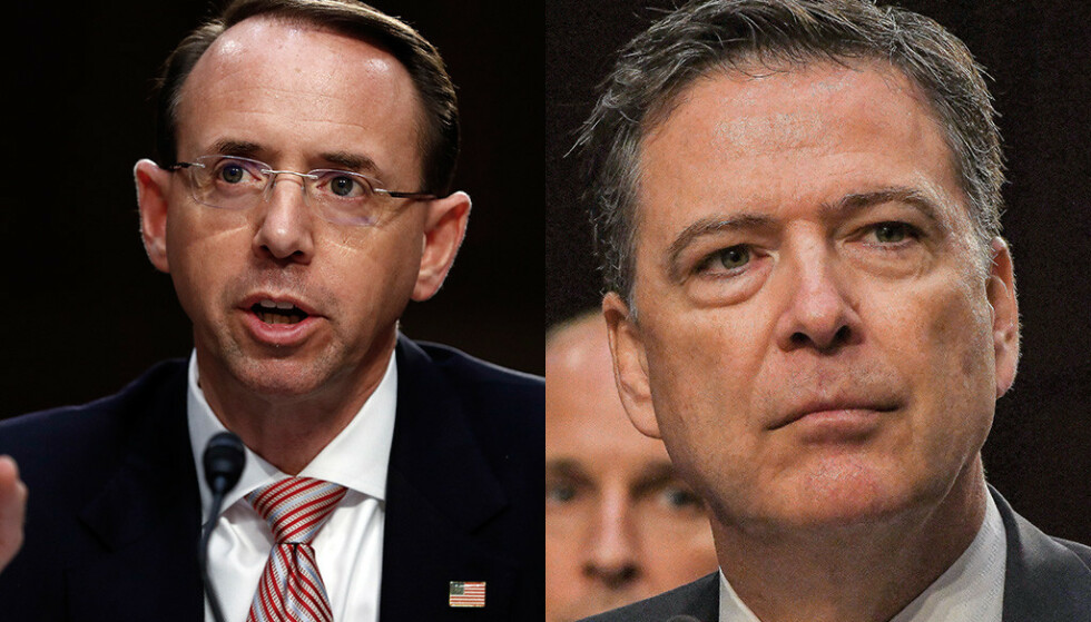 REFSER HVERANDRE: De er ikke verdens beste venner tidligere visejustisminister Rod Rosenstein (t.v.) og tidligere FBI-direktør, James Comey. Foto: NTB scanpix