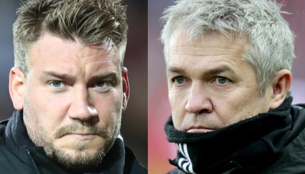 I TRØBBEL: Nicklas Bendtner (t.v.) sliter med spilletida i Rosenborg. Mot Lillestrøm i helga var han ikke engang med i troppen. Tidligere Rosenborg-trener Kåre Ingebrigtsen synes det er trist for spilleren han hentet til klubben i 2017. Foto: NTB scanpix