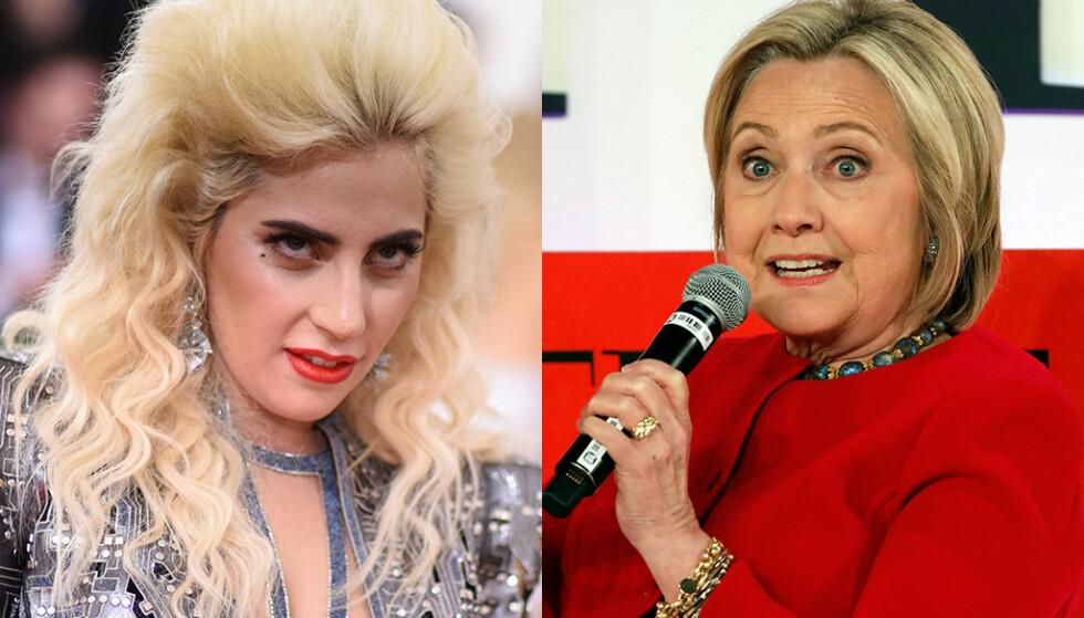 RASER: Popstjerna Lady Gaga (t.v.) og tidligere utenriksminister Hillary Clinton er to av mange som reagerer sterkt på Alabamas nye abortlov. Foto: NTB scanpix