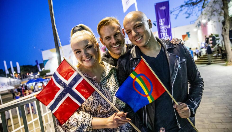 TIL FINALEN: KEiiNO, her med Alexandra Rotan, Tom Hugo og Fred Buljo, sang og joiket seg til lørdagens finale i kveld. Foto: Christian Roth Christensen / Dagbladet