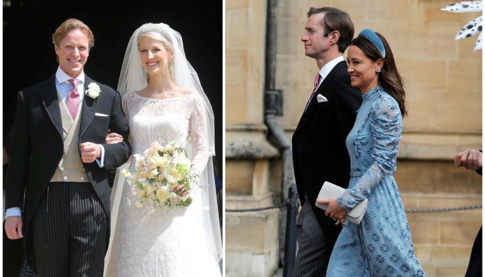 GIFTET SEG: Lady Gabriella Windsor giftet seg lørdag ettermiddag med Thomas Kingston (t.v). Én av gjestene vekker derimot store mengder oppsikt. Foto: NTB Scanpix