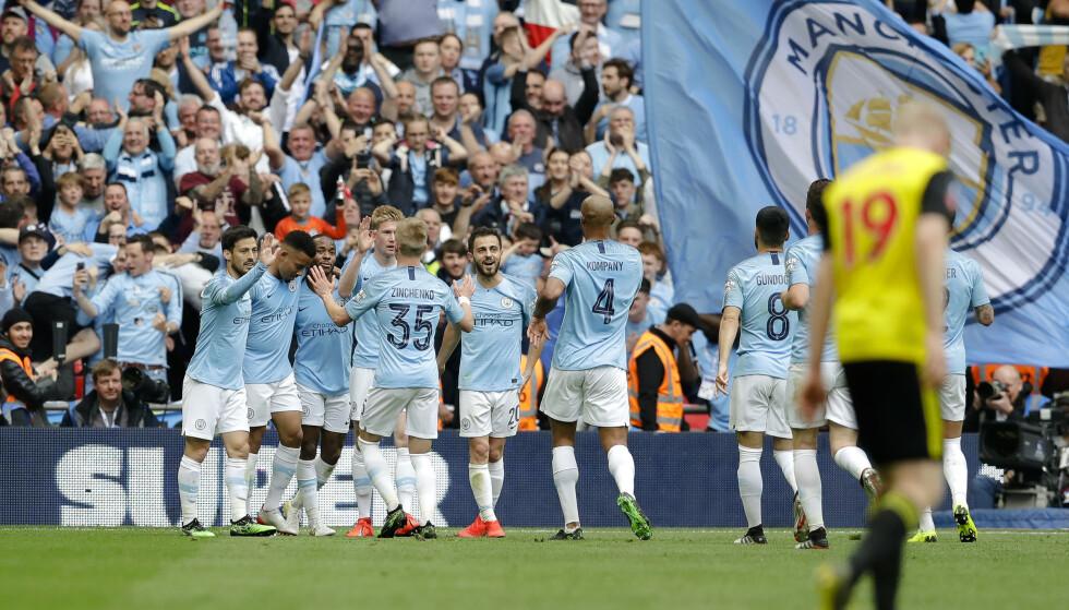 HERJET: Manchester City knuste Watford hele 6-0 i FA-cupfinalen lørdag. Foto: Kirsty Wigglesworth / AP / NTB scanpix