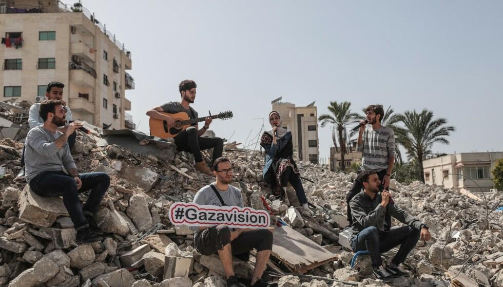 KONSERT I RUINENE: Mens Eurovision går av stabelen i Tel Aviv, holder aktivister alternative musikkonkurranser i Gaza. Foto: Mustafa Hassona / Abacapress.com / NTB Scanpix