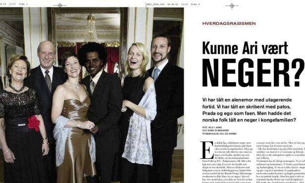 2002: Det var i denne artikkelen i KK at Erna Solberg uttalte seg om hverdagsrasisme. På bildet av kongehuset er Ari Behn gitt mørke krøller og et mørkt ansikt av KK. Faksimile KK