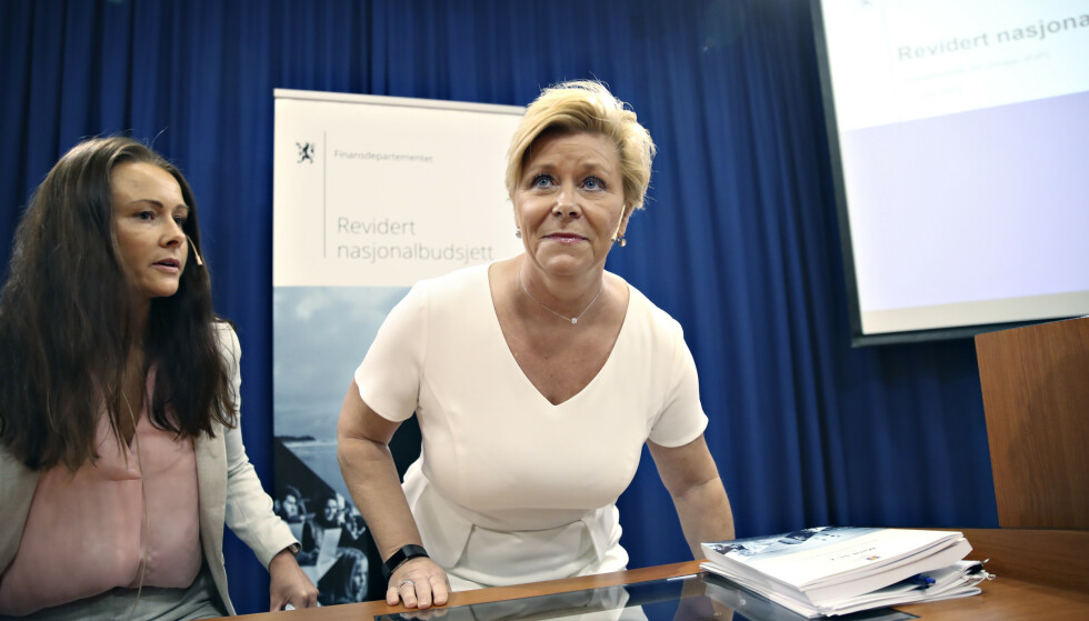 TRENGER EN LØSNING: Finansminister Siv Jensen i forbindelse med revidert nasjonalbudsjett 2019. Foto: Bjørn Langsem / Dagbladet