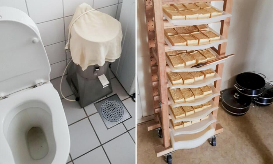 PRODUKSJON: I leiligheten ble det funnet over 30 kilo tofu ferdig til levering. Produksjonen foregikk på leilighetens toalett. Foto: Mattilsynet