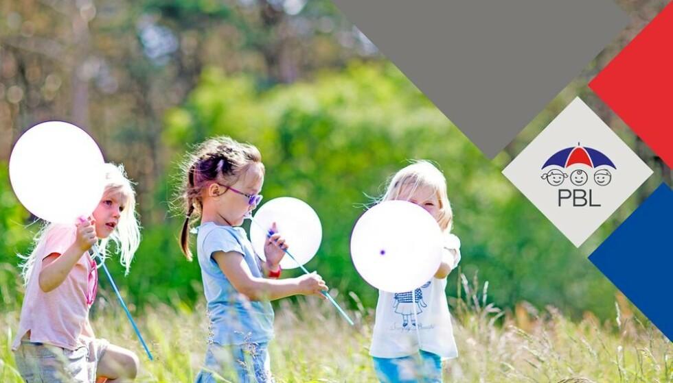 VARM VELKOMST: Med et bilde av barn med ballonger og sin logo med smilende barneansikter ønsker Private Barnehagers Landsforbund (PBL) velkommen til landsmøte på mandag. Nå trues idyllen av et barnehageopprør. Foto: PBL