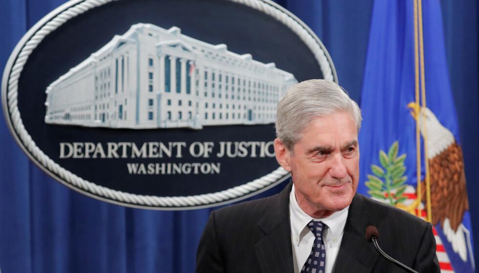 FØRSTE UTTALELSE: Spesialetterforsker Robert Mueller gav sin første offentlige uttalelse på to år om Russland-granskningen. Foto: NTB Scanpix