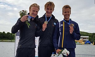 DOBBELTSEIER: Amund Vold og Eivind Vold best i verden på K1 5000 meter i helga. Foto: Privat
