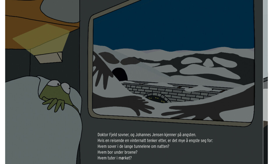 FIN DUO: Henrik Hovland og Torill Kove er tilbake med ny fortelling om den elskelige og frynsete funksjonæren Johannes Jensen. Illustrasjon fra boka
