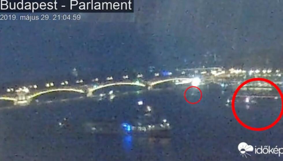 SAMMENSTØT: Disse overvåkingsbildene skal vise båtene rett før sammenstøtet. Foto: Reuters