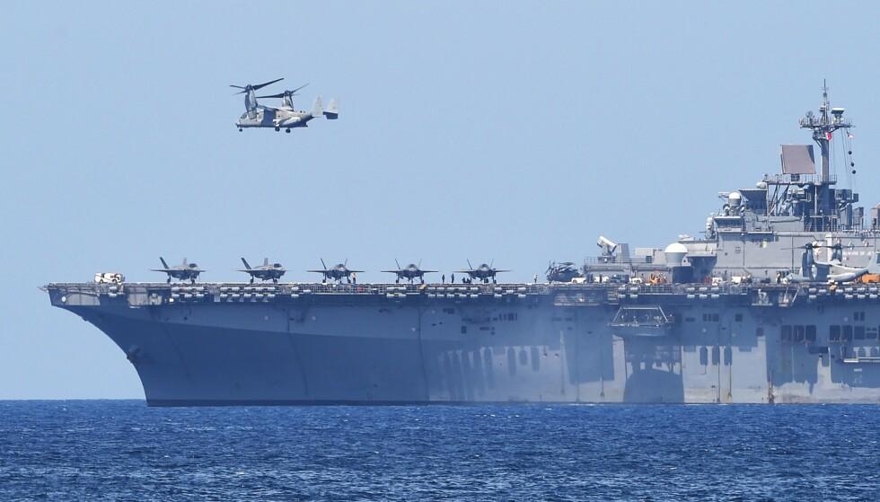IKKE TILFREDS: Kina er ikke særlig fornøyd med USAs militære tilstedeværelse i Sør-Kinahavet. Foto: AFP