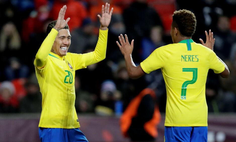 FAVORITTER: Roberto Firmino og David Neres må tåle å være favoritter når Copa America går av stabelen i juni. Foto: REUTERS / David W Cerny / NTB Scanpix