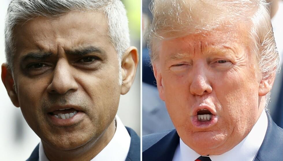 FYRER LØS: President Donald Trump langer ut mot Londons borgermester, Sadiq Khan, som mener at Trump ikke burde få komme på statsbesøk. Foto: Odd ANDERSEN and Tolga AKMEN / AFP / NTB Scanpix