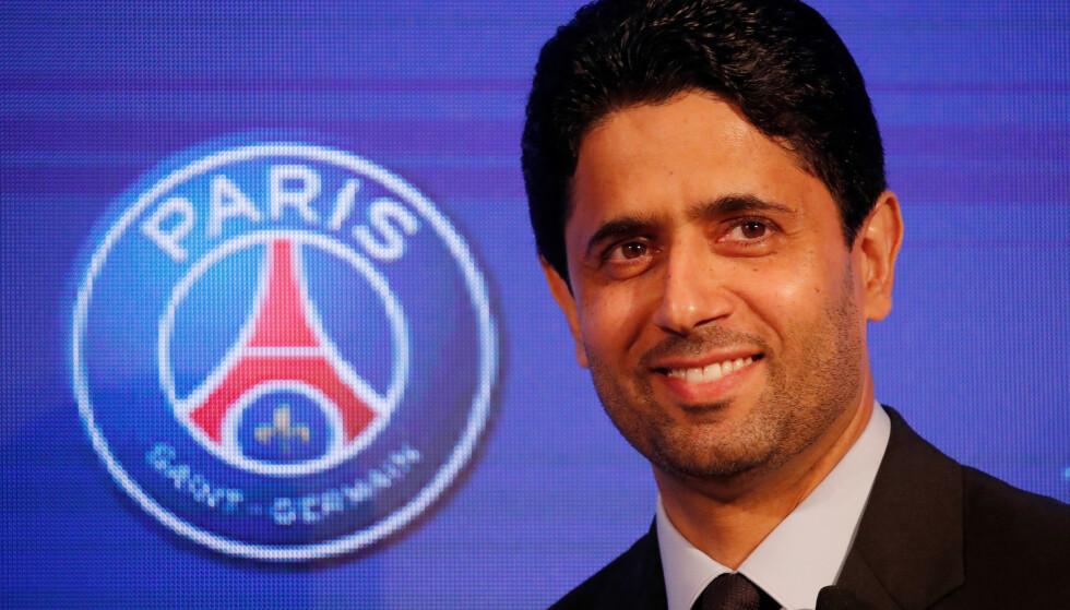 TIL ENGLAND: Nasser Al-Khelaifi skal være interessert i å kjøpe aksjer i Leeds United. Foto: Reuters.