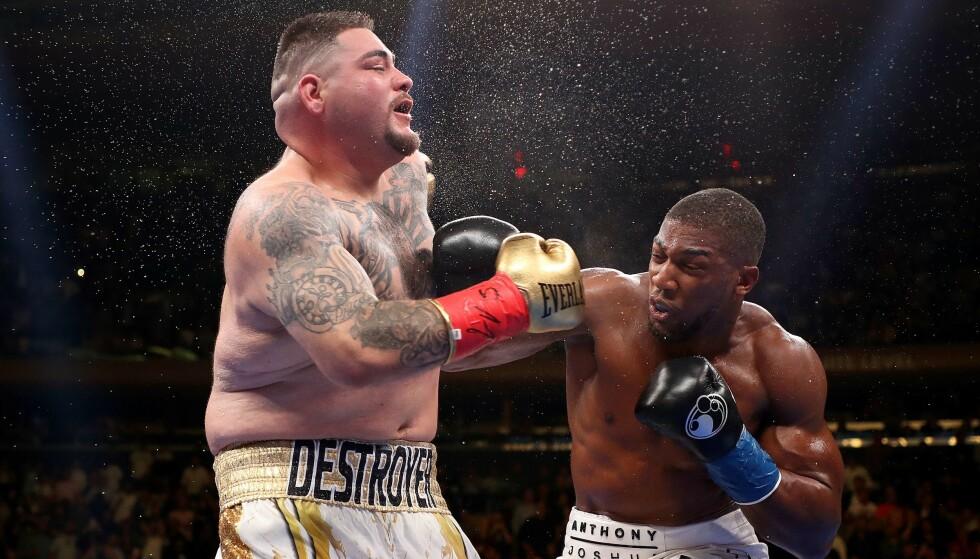 TAPTE: Anthony Joshua (t.v.) tapte på teknisk knockout mot Andy Ruiz. Nå møtes de i ringen igjen. Foto: Al Bello / Getty Images / AFP / NTB Scanpix
