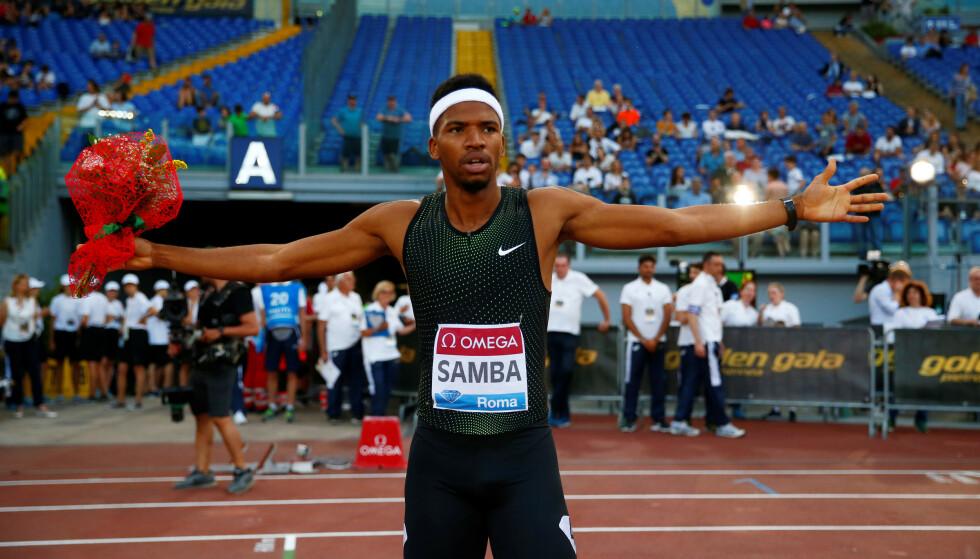 SKADET: Abderrahaman Samba feirer seieren under fjorårets Diamond League-stevne i Roma. Foto: REUTERS/Tony Gentile / NTB scanpix