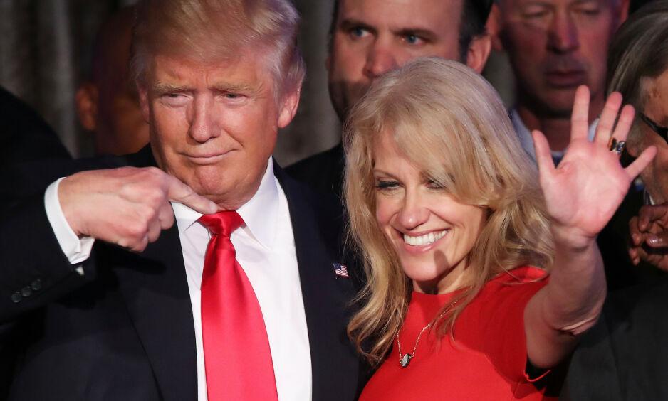 RÅDGIVER: Kellyanne Conway har fått æren for å gjøre Trump mer spiselig, og har - til tross for store utskiftninger - vært en av Trumps nærmeste rådgivere siden han ble valgt til president. FOTO: NTB Scanpix