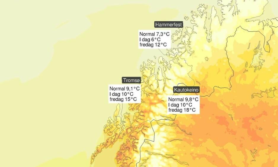 TEMPERATURENE STIGER: Det forventes ikke veldig høye temperaturer i Nordnorge, men temperaturene vil stige kraftig de neste dagene. Foto: Meteorologisk institutt
