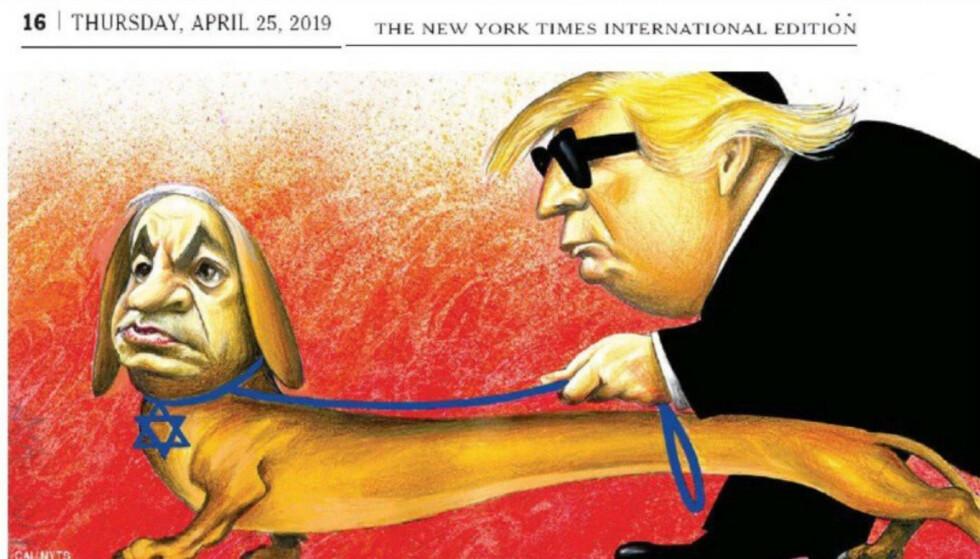 SLUTT FOR TEGNERNE: The New York Times gir etter for presset og gir seg med satiretegninger, etter denne med Trump og Netanyahu. Faksimile: New York Times