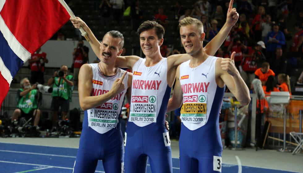 SUPERBRØDRE: Hverken Henrik eller Filip Ingebrigtsen har vurdert å boikotte årets store friidrettsbegivenhet. De tre brødrene blir etter alt å dømme å se på startstreken i Doha. Foto: NTB scanpix