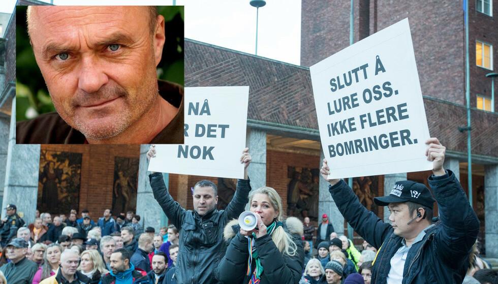 SYMPATISØRER: Jarle Aabø har samlet stor tilhengerskare bant annet hos bompenge-protestantene Illustrasjonsfoto: Privat (innfelt) og NTB Scanpix