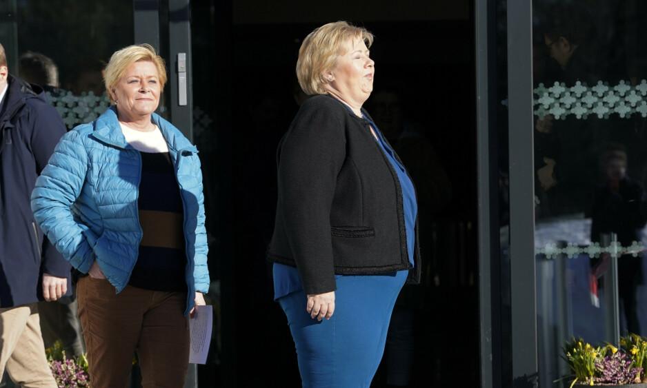 <strong>GAVEPAKKE:</strong> Asylfeltet har vært en gyllen gavepakke fra statsminister Erna Solberg til Fremskrittspartiet, skriver innsenderen. Foto: Cornelius Poppe / NTB scanpix