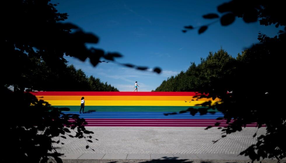 Pride: To kvinner før pride i New York. Foto: Johannes Eisele /AFP / NTB Scanpix