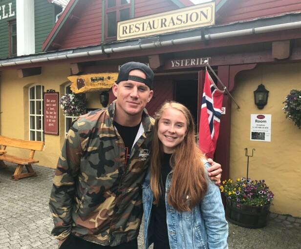 UVENTET: Nilsen sier hun ikke hadde trodd hun skulle møte selveste Channing Tatum. Hun forteller til VG at det så ut som han og teamet var der for å jobbe, og at de altså ikke var på ferie. Foto: Privat