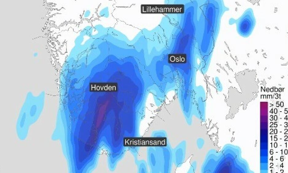 NEDBØR: Torsdag klokka to om natta inntar regnet store deler av Sør-Norge for fullt. NEDBØR: Foto: Meteorologisk institutt / Twitter