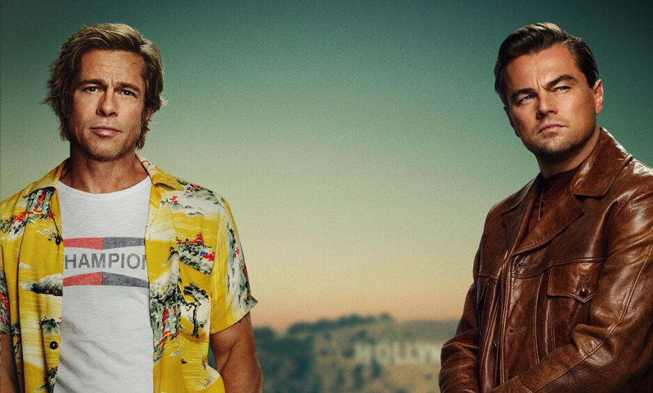 TOSPANN: Megastjernene Brad Pitt og Leonardo DiCaprio jobber sammen for første gang i «Once Upon A Time In Hollywood», i rollen som den avdankede filmstjernen Rick Dalton (DiCaprio) og hans stuntmann og høyre hånd (Pitt). Foto: SF Studios/Sony