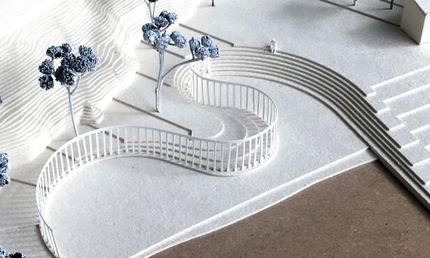I TERRENGET: Slik skal monumentet slynge seg i to halvsirkler. Illustrasjon: Manthey Kula Arkitekter / Statsbygg