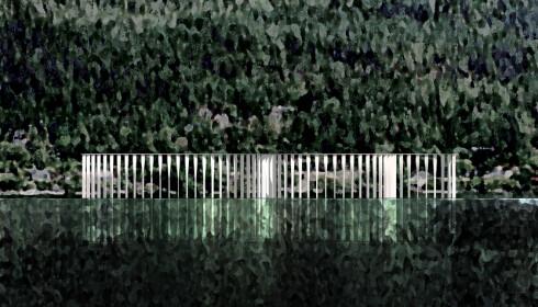 FRA VANNET: Arkitektene illustrerer hvordan monumentet speiler seg i vannet hvis du kommer fra sjøsiden. Illustrasjon: Manthey Kula Arkitekter / Statsbygg