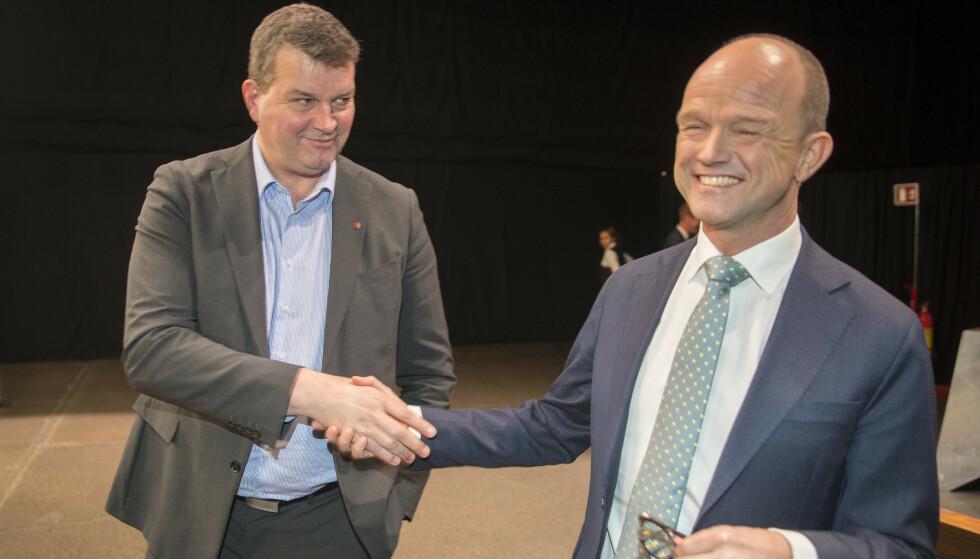<strong>HAR TROEN:</strong> LO-leder Hans-Christian Gabrielsen og NHO-sjef Ole Erik Almlid er blant kronikkforfatterne. Foto: Vidar Ruud / NTB scanpix