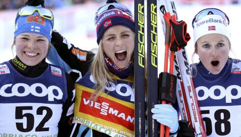 UENIGE: Krista Pärmäkoski, Therese Johaug og Ingvild Flugstad Østberg er uenige i hva som egentlig skjedde i verdenscupsavslutningen. Foto: NTB Scanpix