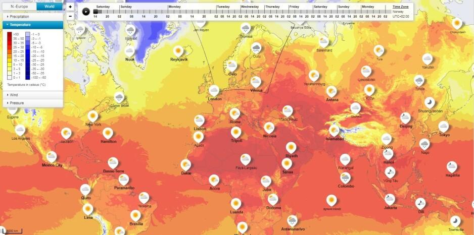 VARMT: Hetebølgen, som er ventet å treffe deler av Europa til uka, kommer til å starte i Spania og bevege seg vestover. Foto: Skjermdump (YR.NO)