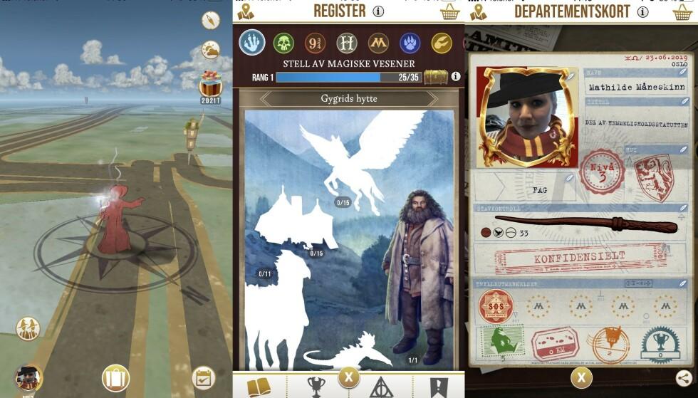 HARRY POTTER: Et lite knippe skjermbilder fra «Harry Potter Wizards Unite», som ble tilgjengelig for norske spillere i helga. Foto: Mathilde Lea / Skjermdump