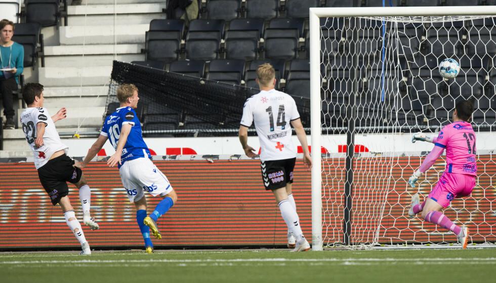 MÅLSCORER: Torgeir Børven noterte seg nok en gang på scoringslista for Odd, som nå kan gå forbi Molde på tabelltopp om de vinner hengekampene. Foto: NTB/Scanpix