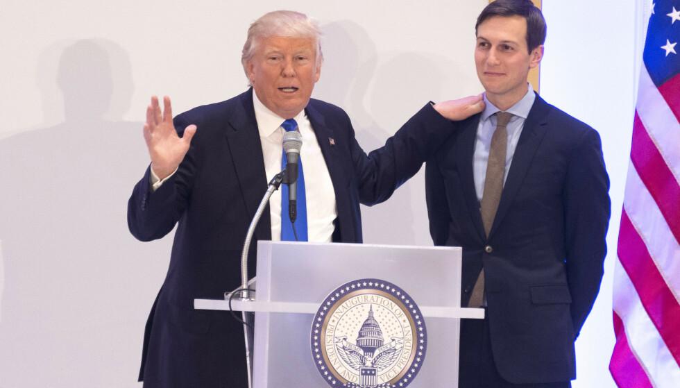 ISRAELS BESTE VENNER: President Donald Trump og hans svigersønn Jared Kushner tror det er mulig å kjøpe palestinsk støtte for penger. Foto: Clint Spaulding/WWD/REX/NTB Scanpix