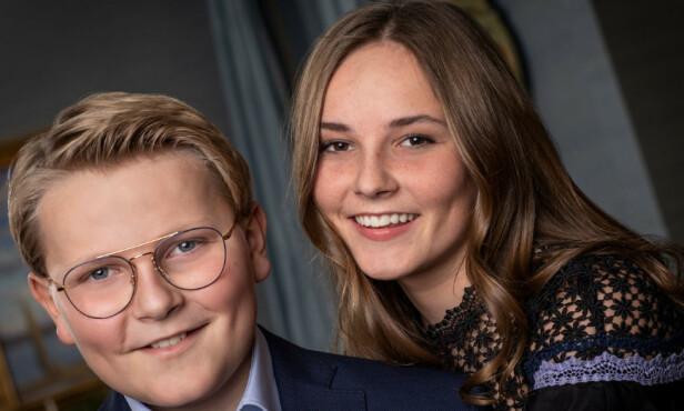 PÅ JAKT ETTER NY JOBB? Da kan du kanskje være den som blir kronprinsbarnas nye assistent. Her er de avbildet i forbindelse med prins Sverre Magnus sin 13-års dag i desember. Foto: Julia Naglestad / Kongehuset