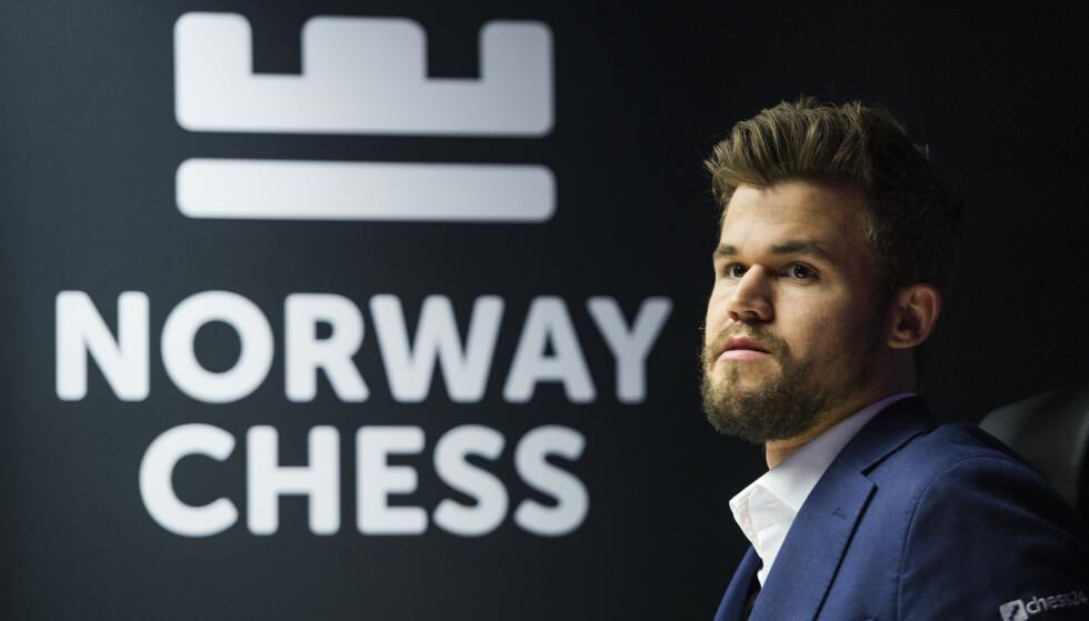 Stavanger  20190614. Magnus Carlsen under den 9 runde i Norway chess 2019 i Stavanger konserthus. Foto: Carina Johansen / NTB Scanpix