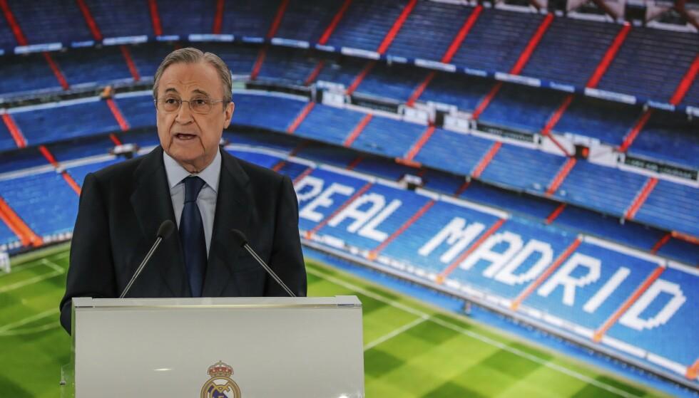 VIL SATSE PÅ KVINNEFOTBALL: Klubbpresident Florentino Perez og Real Madrid bekreftet nyheten tirsdag kveld. Foto: NTB/Scanpix