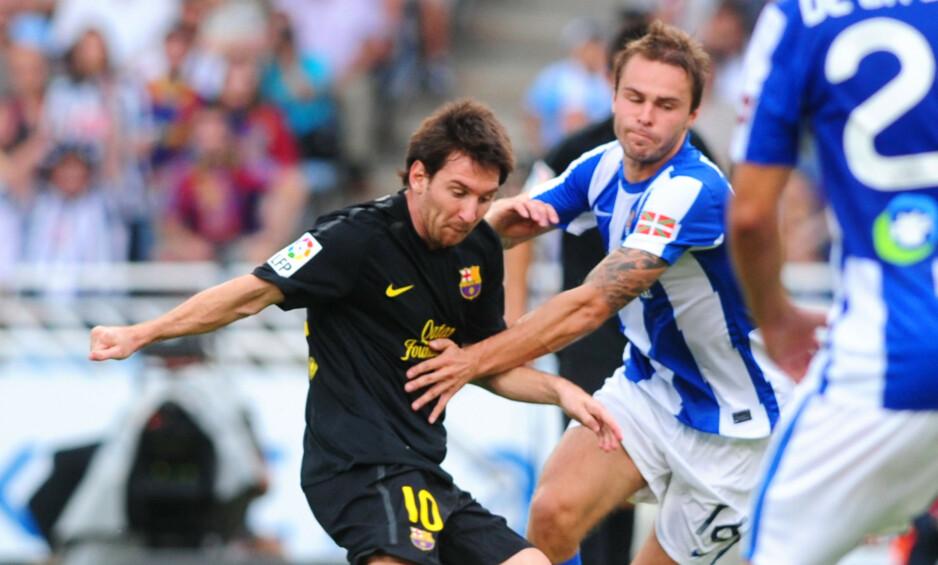 TØFF MOTSTAND: Vadim Demidov er den forrige spilleren fra Norge som prøvde seg i La Liga før Martin Ødegaard. Foto: AFP PHOTO / RAFA RIVAS / NTB Scanpix