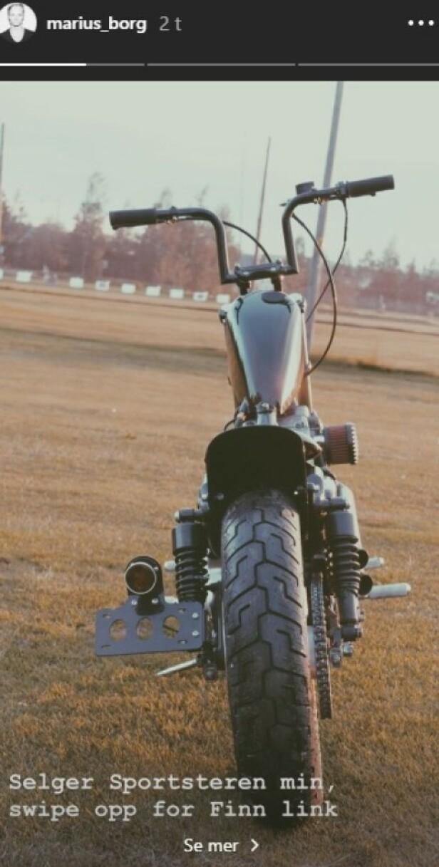 <strong>TIL SALGS:</strong> Denne motorsykkelen ligger til salgs på Finn.no. Foto: Marius Borg Høiby / Instagram  st