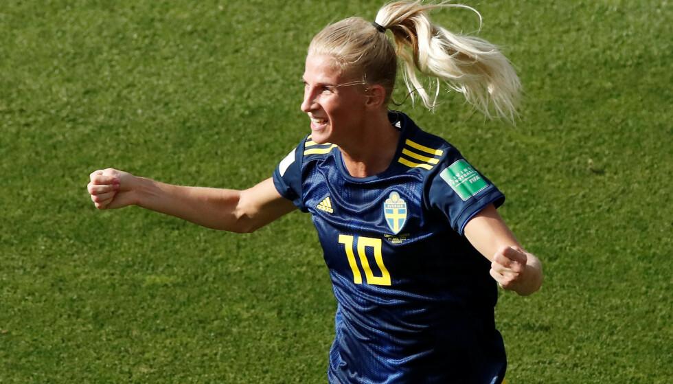 MÅL: Sofia Jakobsson dediserte scoringen til sin skadde bror. Foto: NTB Scanpix