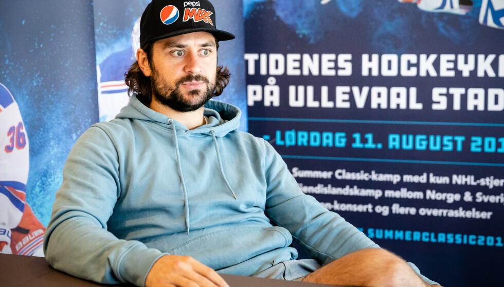 """Oslo  20180622. Ishockeyspilleren Mats Zuccarello intervjues før veldedighetskampen """"Summer Classic"""" på Ullevaal stadion. Foto: Audun Braastad / NTB scanpix"""