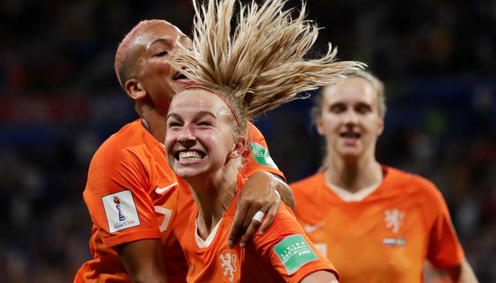 AVGJORDE: Jackie Groenen hadde god grunn til å glise etter at hun sendte Nederland til VM-finalen. Foto: NTB scanpix