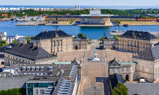 FIRE SLOTT: Amalienborg i København består av hele fire slott. Foto: Shutterstock/NTB Scanpix
