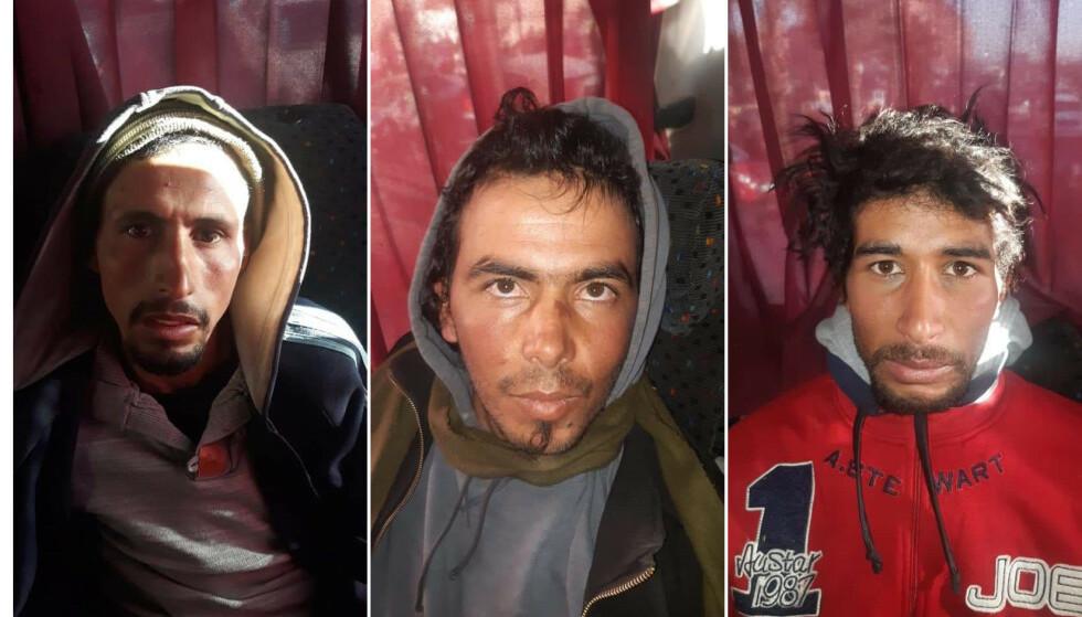 HOVEDMENN: De tre gateselgerne Rachid Afati (t.v), Ouziad Younes og bøddelen Abdessamad El Joud (t.h) er siktet for drapene på norske Maren Ueland og danske Louisa Vesterager Jespersen. I tillegg er 21 andre siktet i terrorsaken. Her er de tre avbildet da de ble pågrepet på en buss på vei fra Marrakech. Foto: Marokkansk politi / AFP / Scanpix