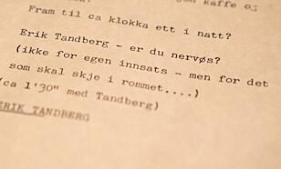 MANUS: På Teknisk museum finnes en utskrift av manuset til NRKs sending fra månelandingen. Innledningsvis her får Tandberg spørsmålet: «Er du nervøs?» Ifølge manuset svarer Tandberg da: «Ikke for egen innsats, men for det som skal skje i rommet.». 50 år etter medgir han at det stemte godt. Foto: Frank Karlsen / Dagbladet